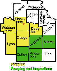 Shawnee, Douglas, Osage, Franklin, Miami, Johnson, Coffey and Anderson Counties in Kansas